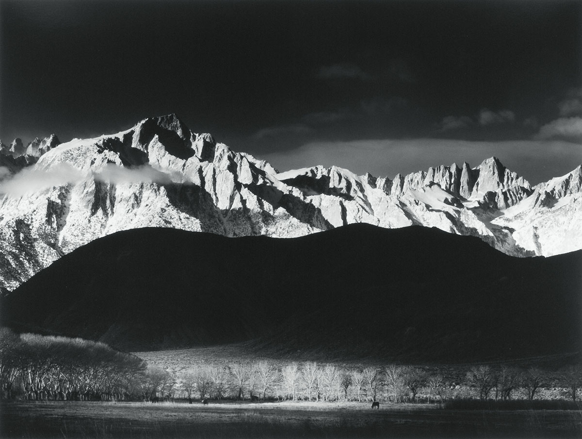 Ansel Adams (American, 1902-1984), <em>Winter Sunrise, Sierra Nevada from Lone Pine, California</em>, 1944, gelatin silver print. Mrs. Lorraine Gallagher Friemann Fund, 1975.066. ©2013 Ansel Adams Publishing RIghts Trust.