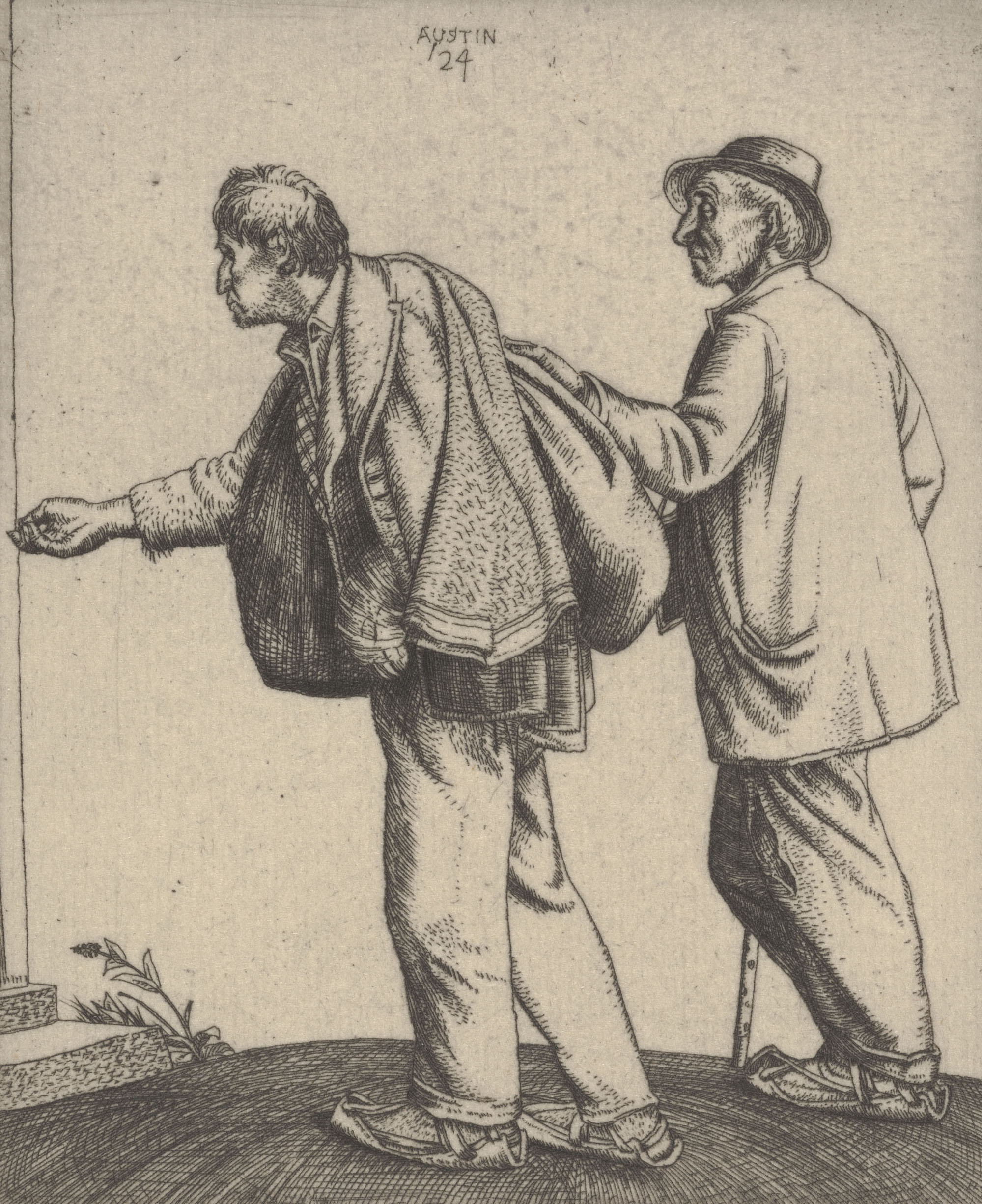 Robert Sargent Austin (British, 1895–1973), <em>Beggars</em>, 1924, etching. Gift of Mr. and Mrs. Frederick C. Elbel, 1987.049.008