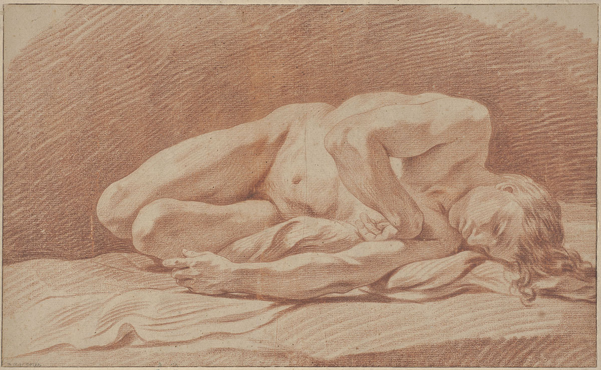 Jean Jacques Lagrenée II (French, 1739–1821), <em>Study of a Male Nude</em>, red chalk on laid paper. Purchased with funds provided by Mr. and Mrs. D'Arcy Chisholm, 1985.003.002