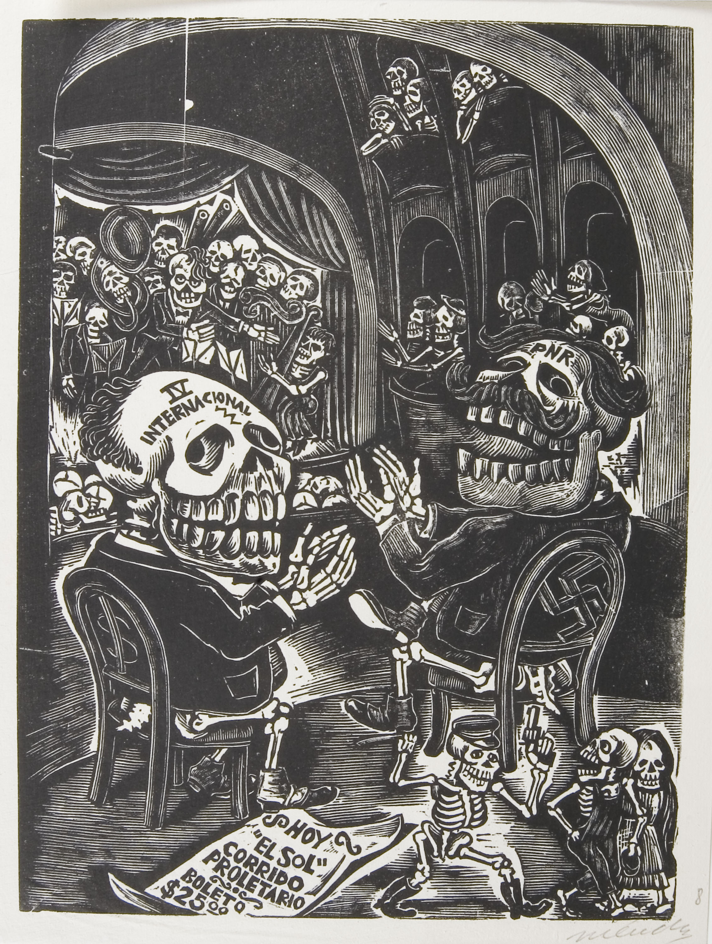 Leopoldo Méndez (Mexican 1902–1969), <em>Concierto Sinfónico de Calaveras</em>, 1943 (The Symphonic Concert of Skeletons), woodcut engraving on paper. Gift of Charles S. Hayes '65, 2009.014.008