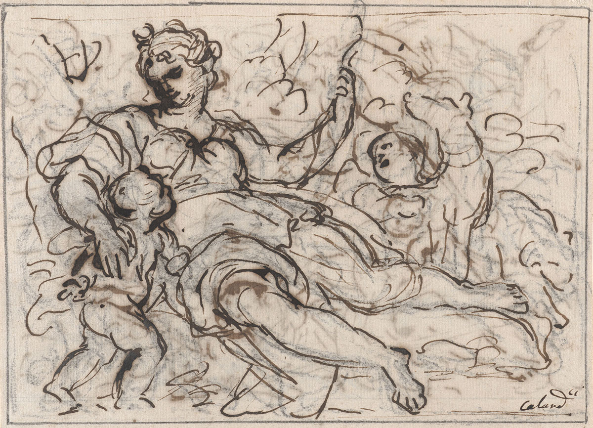 Giacinto Calandrucci (Italian, 1646–1707), <em>Diana with Two Putti</em>, ca. 1680–85, pen and brown ink over black chalk on laid paper. On extended loan as a promised gift from Mr. John D. Reilly '63, L1991.031.004