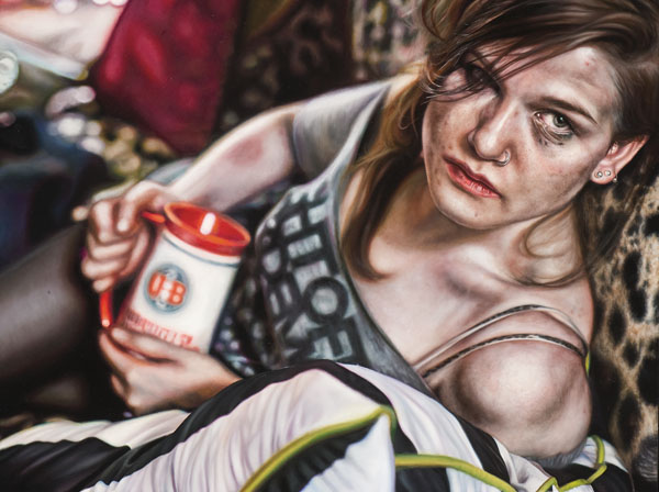 Amanda Joseph, MA '13 candidate, <em>Trailer Tra$h</em>, 2011, oil on gessoboard. Collection of the artist