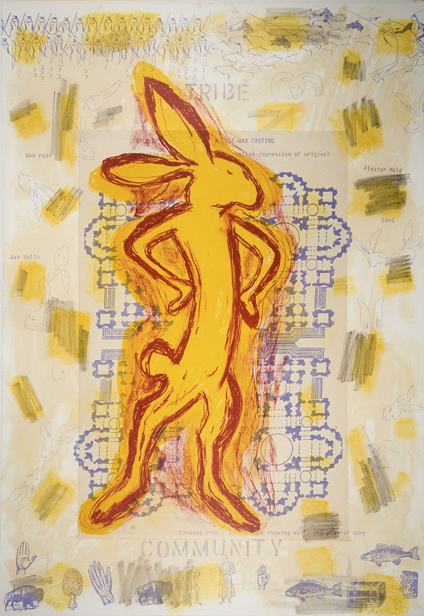 Jaune Quick-to-See Smith (American, b. 1940), <em>Tribe/Community</em> from the Survival Series, 1996, lithograph. Acquired with funds provided by the Humana Foundation Endowment for American Art, 2008.044.003