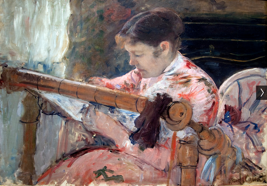 Mary Cassatt (American, 1844–1926), <em>Lydia at a Tapestry Frame</em>, ca. 1881, oil on canvas. Flint Institute of Arts: Gift of The Whiting Foundation, 1967.32