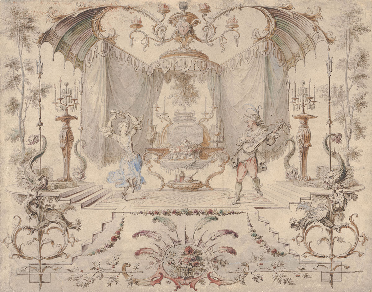 Gilles-Marie Oppenord (French, 1672–1742), <em>An Ornamental Cartouche</em>, ca. 1700, pen and gray ink and brown wash and watercolor on laid paper. On extended loan from Mr. John D. Reilly '63, L2009.005.003