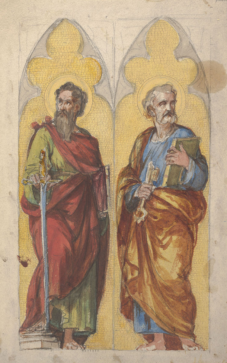 Luigi Gregori (Italian 1819-1896), <em>Saint Paul and Saint Peter</em>, 1874–78, watercolor and gouache over black chalk on wove paper. Gift of the artist, 1977.005.020.DD