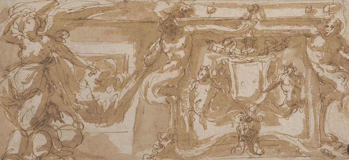 Perino del Vaga (Italian 1501–1547), <em>A Design for a Section of a Frieze Decoration</em>, ca. 1540–45, pen and brown ink and wash on laid paper. On extended loan as a promised gift from Mr. John D. Reilly '63, L1997.057.001.