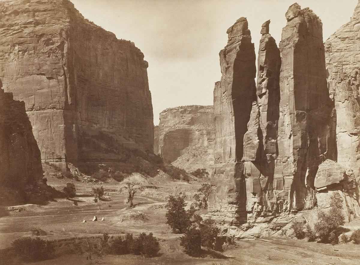 Timothy O'Sullivan (American, 1840–1882), <em>Canon de Chelle, Walls of the Grand Canyon about 1200 feet in height</em>, 1873, albumen silver print on board. Acquired with funds provided by the Humana Foundation Endowment for American Art, 1994.003.001.