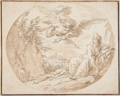 Giuseppe Cades (Italian, 1750–1799), <em>Hagar and Ishmael in the Desert</em>, after 1770, pen, brown ink and wash over black chalk squared in black. On extended loan from Mr. John D. Reilly '63, L1988.010.005.