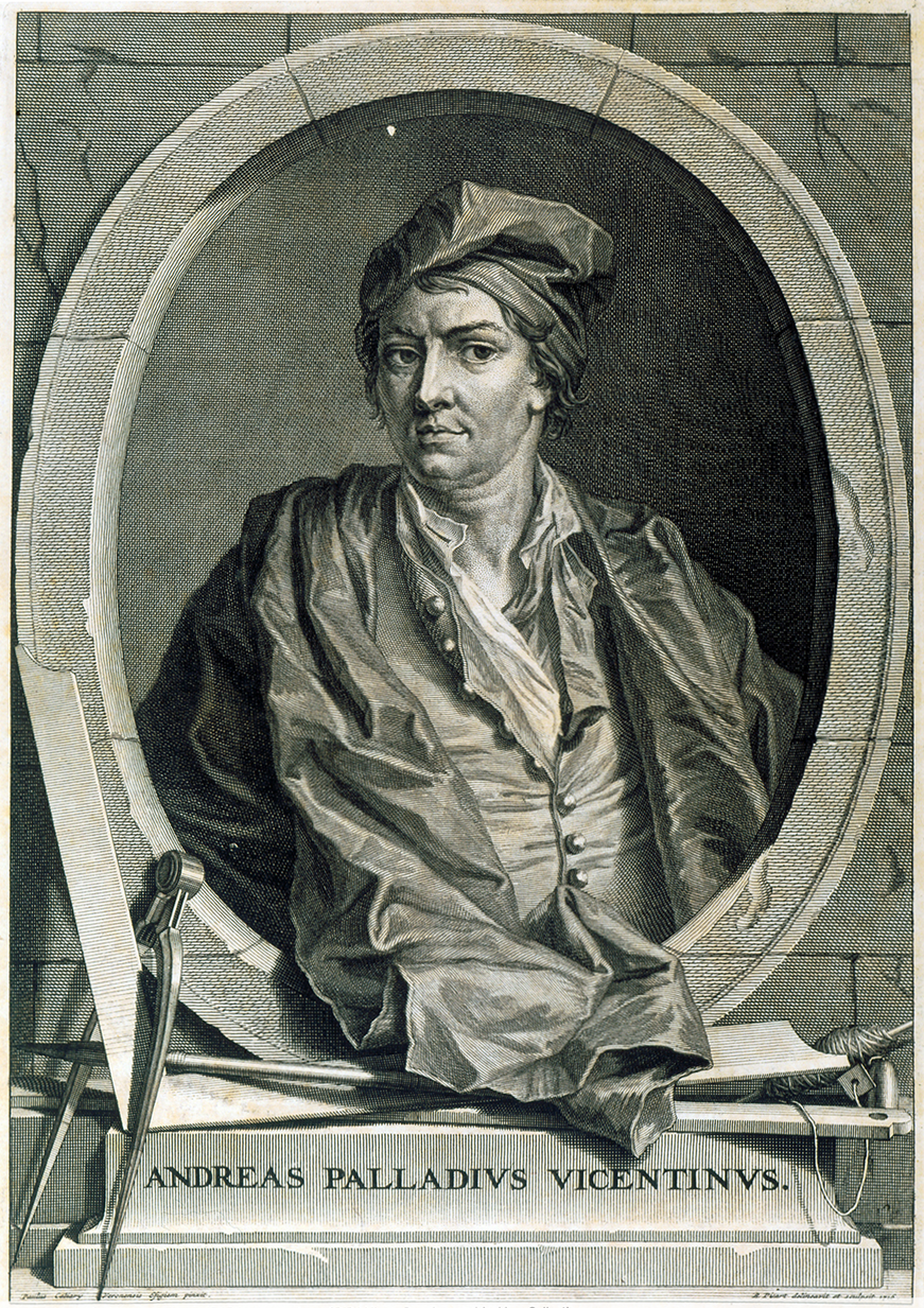 <em>Conjectural portrait of Andrea Palladio</em>, after Sebastiano Ricci (Italian, 1659–1734), ca. 1715 engraving. Courtesy RIBA British Architectural Library.