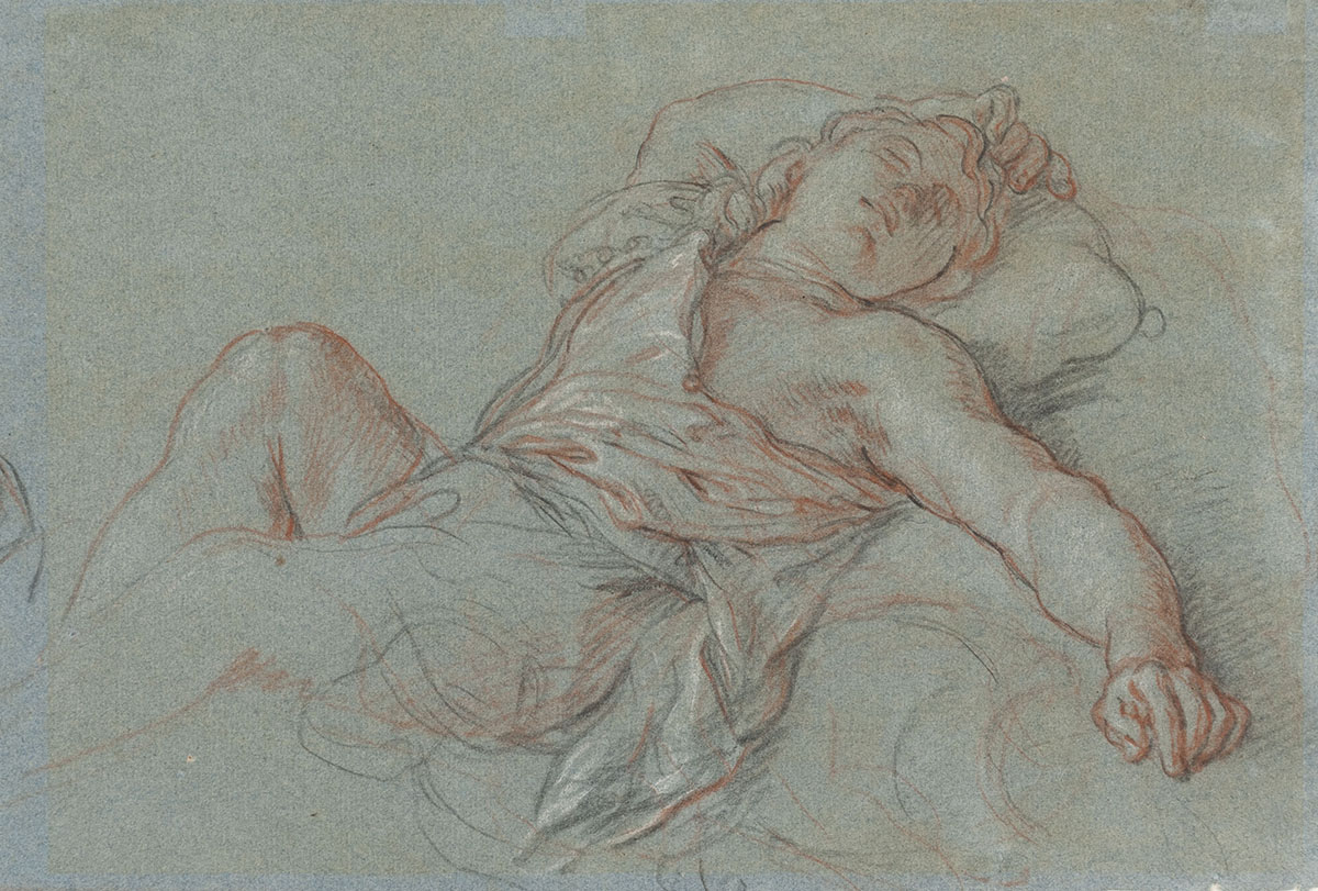 Charles de la Fosse (French, 1636–1716), <em>Sleeping Rinaldo</em>, 1686,  black, red and white chalk on blue laid paper. Gift of Mr. John D. Reilly '63, 2004.053.013.