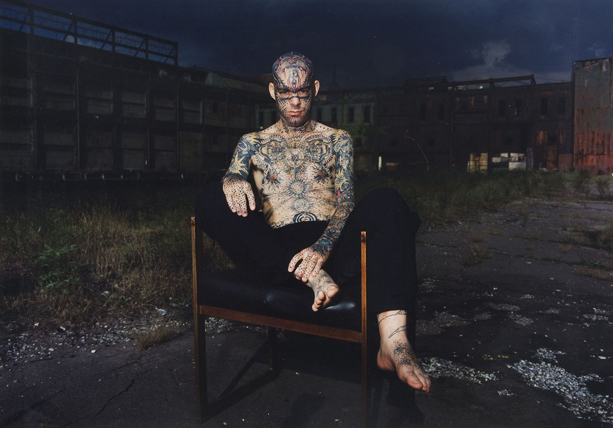 "Jeff T. Crisman (American, b. 1952), <em>""Tattoo"" Mike Wilson, New York City</em>, 1991, chromogenic print. Acquired with funds provided by the Walter R. Beardsley Endowment for Contemporary Art, 2009.004.008"