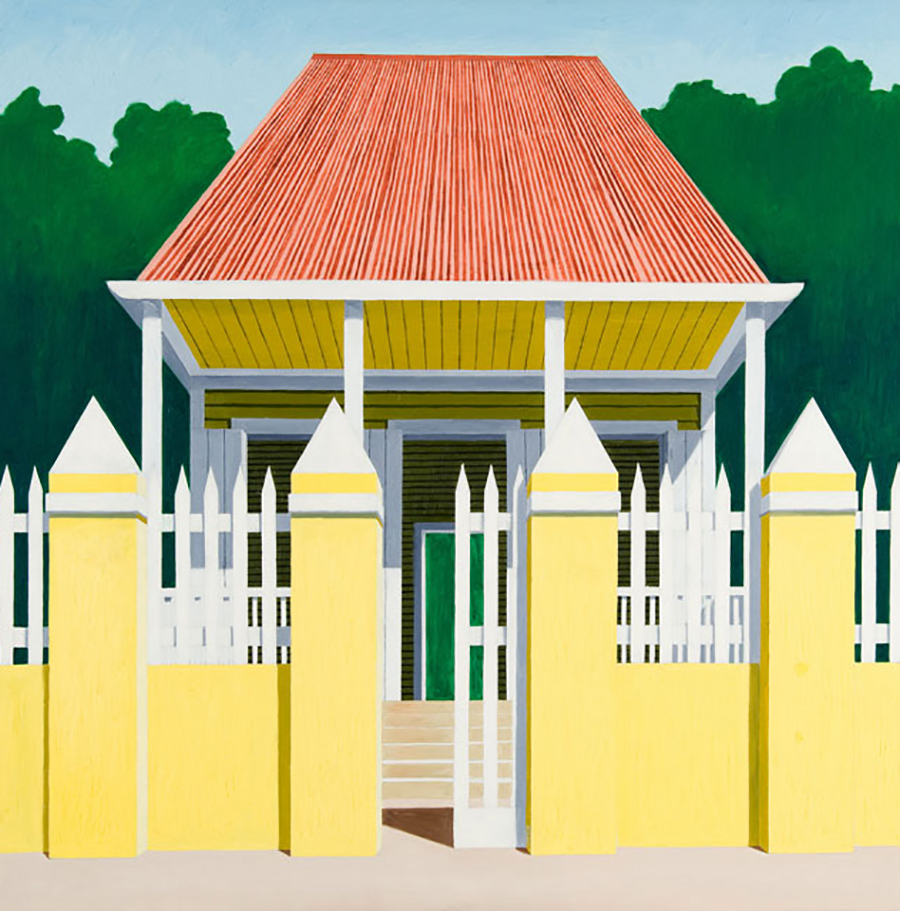 Emilio Sánchez (Cuban, 1921–1999), <em>Untitled, House with Yellow Fence</em>, ca. 1980s, oil on canvas. Gift of the Emilio Sánchez Foundation