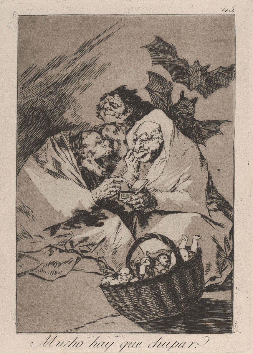 Francisco de Goya (Spanish, 1746–1828), <em>Los Caprichos: Mucho Hay Que Chupar</em>, plate 45 [The Capriccios: There Is Plenty To Suck], etching. Acquired with funds provided by the Humana Endowment for American Art, 1991.001.004