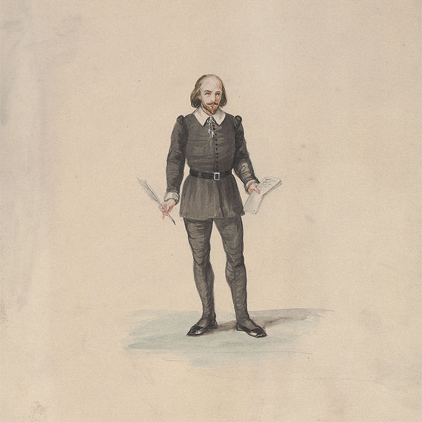 Full length drawing of Shakespeare as imagined by artist Luigi Gregori (Italian, 1819-1896), gauche and watercolor over graphite. Gift of the artist, AA2009.056.138