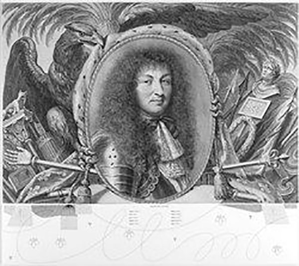 Robert Nanteuil (1623–1678), Gilles Rousselet (1610–1686), and Anton Würth (b. 1957), <em>Portrait of Louis XIV Surrounded by an Allegorical Composition</em>, 1667, together with <em>N – Predella III</em>, 2012. On loan from C. G. Boerner, New York.