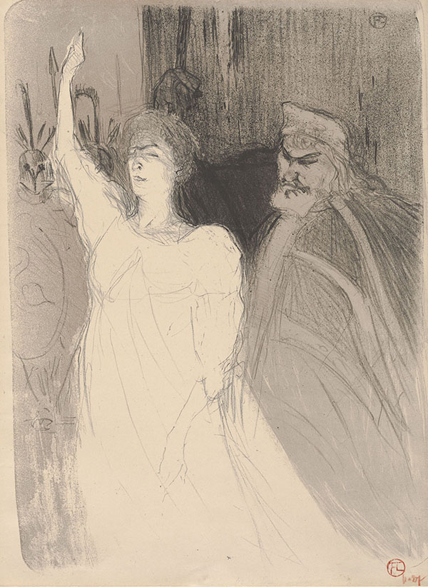 Henri de Toulouse-Lautrec (French, 1864–1901), <i>Bartet and Mounet-Sully, in Antigone</i>, 1893, crayon and brush lithograph on cream wove paper, 14.94 x 11.13 in (sheet). Gift of Dr. and Mrs. R. Stephen Lehman, 2012.105