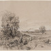 Théodore Rousseau (French, 1812–1867), <em>Landscape with Stream</em>, n.d., black and white chalk on light brown laid paper, 10.38 x 17 inches (sheet). 1976 University of Notre Dame Purchase, 1976.040