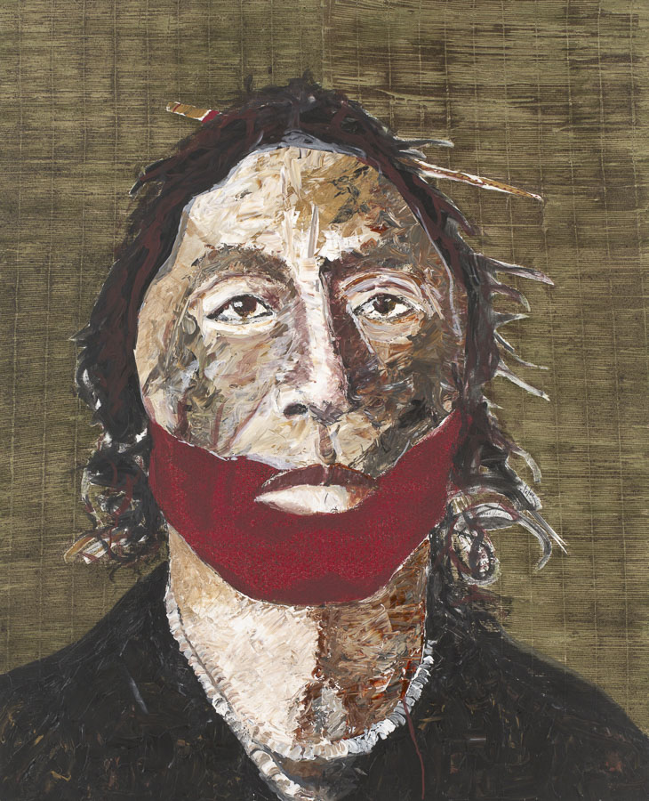 Tomás Lasansky (American, b. 1957), <em>Painted Face</em>, 2008, acrylic on canvas, 65 x 53 inches.