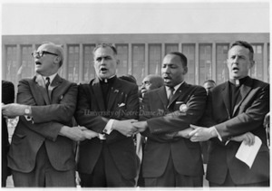 Rev Hesburgh, Martin Luther King Jr and others at 1964 Civil Rights Rally in Illinois