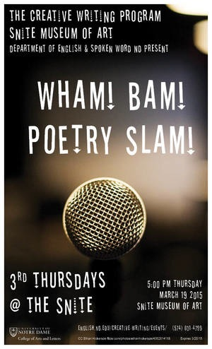Poster for 2015 Wham! Bam! Poetry Slam! event on March 19