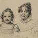Jacques-Louis David (French, 1748–1825), <em>Portrait of the Baroness Jeanin and Her Daughter</em>, 1821, black chalk on buff paper, 12.13 × 10.38 inches. Gift of Mr. John D. Reilly, 1996.070.004