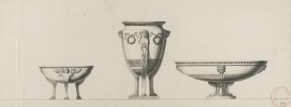 Jean-Guillaume Moitte (French, 1746–1810), <em>Study for Three Silver Urns</em>, n.d., pen and black ink and gray wash over black chalk on laid paper, 6.3 × 17 inches (sight). Gift of Mr. John D. Reilly '63, in honor of Virginia A. Marten, 2006.058