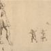 Stefano Della Bella (Italian, 1610–1664), <em>Huntsmen in a Landscape</em>, n.d., pen and brown ink over black chalk on laid paper, 5.25 × 6.75 inches (sheet). Gift of Mr. John D. Reilly '63, 2006.069.015