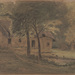 Théodore Rousseau (French, 1812–1867), <em>Farmscape</em>, n.d., black, green, and white chalk on wove paper, 14.38 x 21.25 inches. Gift of Mr. John D. Reilly '63, 2014