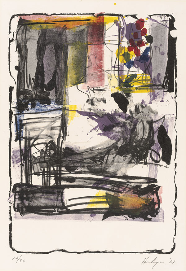 Grace Hartigan (American, 1922–2008), <em>Pallas Athene</em>, 1961, lithograph, 30.13 x 22.25 inches. Acquired with funds from the Humana Foundation Endowment for American Art, 2008.033. Reproduced with the permission of the Grace Hartigan Estate.