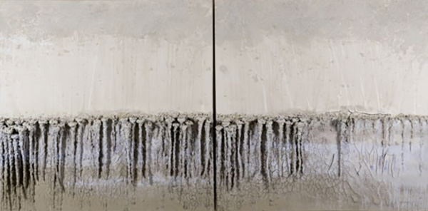 Danae Mattes (American, b. 1958), <em>Rain, A Hundred Roots Silently Drinking</em>, 2010, clay, paper, and pigment on canvas, 66 x 133 x 9 inches. Artist's Collection.