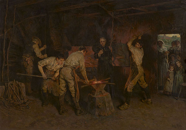 Henry Mosler (American, 1841–1920), <em>Forging the Cross</em>, ca. 1904, oil on canvas, 46.5 x 67.25 inches. Gift of Mrs. J. Fuller Feder, New York, 1950.003