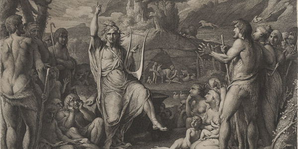 James Barry (Irish, 1741–1806), <em>Orpheus Instructing the Savage People</em>, 1792, etching and engraving, 16