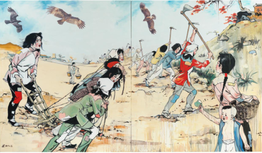 Hung Liu painting, The Heroines, 2012, oil on canvas, 96 x 160 inches