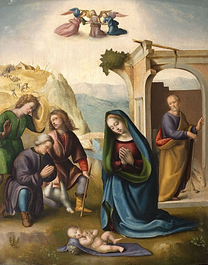 THE ADORATION OF THE SHEPHERDS by Ridolfo Ghirlandaio (Italian, 1483–1561), oil on panel