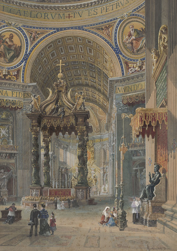 Martino Del Don (Italian, active 1896), <em>Interior of Saint Peter's</em>, n.d. gouache on paper, 23 x 16 inches. Gift of Dr. and Mrs. Norval Green, 1975.090.002