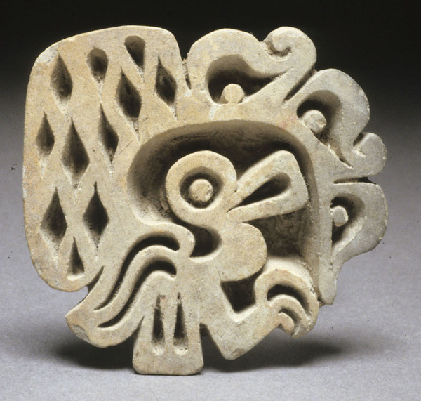LaTolita culture (Ecuador, Classic Period, 200 B.C.-400 A.D.), Flat sello with bird and serpent motifs, earthenware, Gift of Peter David Joralemon, 2003.045.017