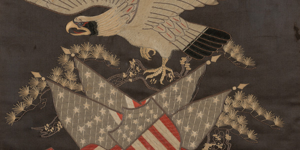 Unknown Artist, Chinese, Embroidered American Eagle, 19th century, 23.5 x 17.5 inches, silk. Gift of Mr. and Mrs. James W. Alsdorf, 1987.035.021.