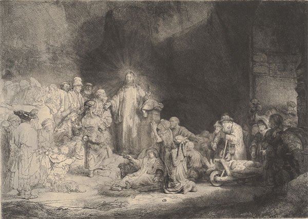 Rembrandt van Rijn, Dutch, 1606–1669, <em>Christ Healing the Sick or The Hundred Guilder Print</em>, 1649, etching with drypoint, 10.94 x 15.28 inches.  Gift of Mr. and Mrs. Jack F. Feddersen, 1991.025.045