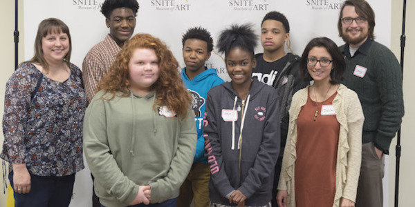 Five students from Jefferson Intermediate Traditional School who participated in the day-long Racial Justice Institute cosponsored by the Snite Museum and the IU South Bend Civil Rights Heritage Center.