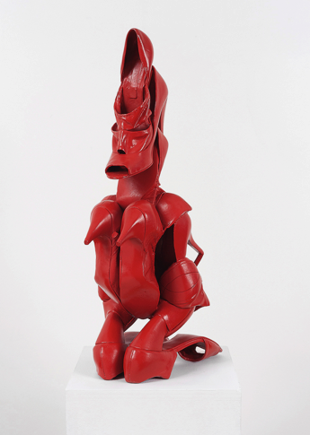 Willie Cole, American, b. 1955, <em>Shoonufu Female Figure</em>, 2013, painted bronze, 25 x 9.5 x 13 inches, Acquired with Funds Provided by the Humana Foundation for American Art. 2017.009.001