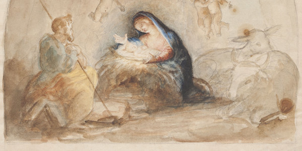 The Nativity, 1876-78, by Luigi Gregori (Italian, 1819-1896), watercolor preparatory drawing for mural in Basilica of the Sacred Heart, Gift of the Artist, 1977 005 020.A.