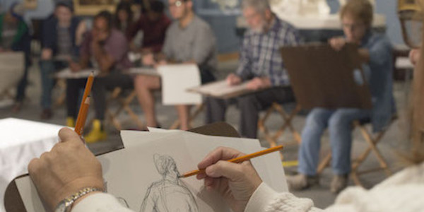 Photo of a Figure Drawing Session in the galleries.