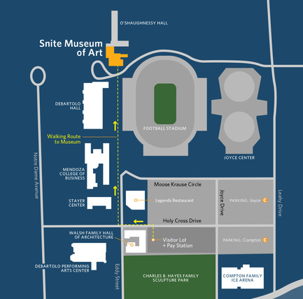 Snite Museum Visitor Map with three pay stations as of June 2018