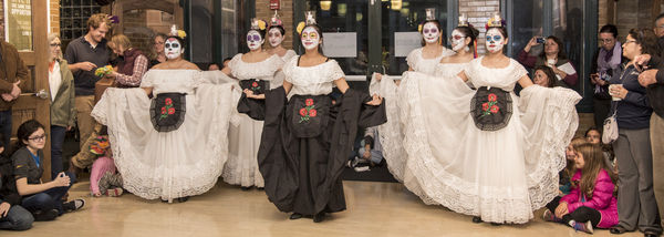 Did de Los Muertos (Day of the Dead) Nov. 2 evening celebration photo of student dance troupe.