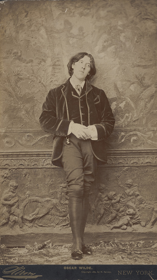 Napoleon Sarony (American, born in Canada, 1821–1896), <em>Oscar Wilde</em>, 1882, Albumen print from wet collodion negative, mounted as boudoir print, 30.5 x 18.4 cm (12 x 7 ¼ in.) Sheet,33.0 x 19.0 cm (13 x 7 ½ in.) Mount, Milly and Fritz Kaeser Endowment for Photography, 2020.012