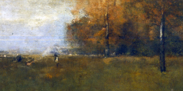 George Innes Sr. (American, 1825–1894), Autumn Landscape or Brush Burners, 1892–1894, oil on canvas, 23 ¾ x 36 inches. Bequest of Walstein Findlay, 1960.004