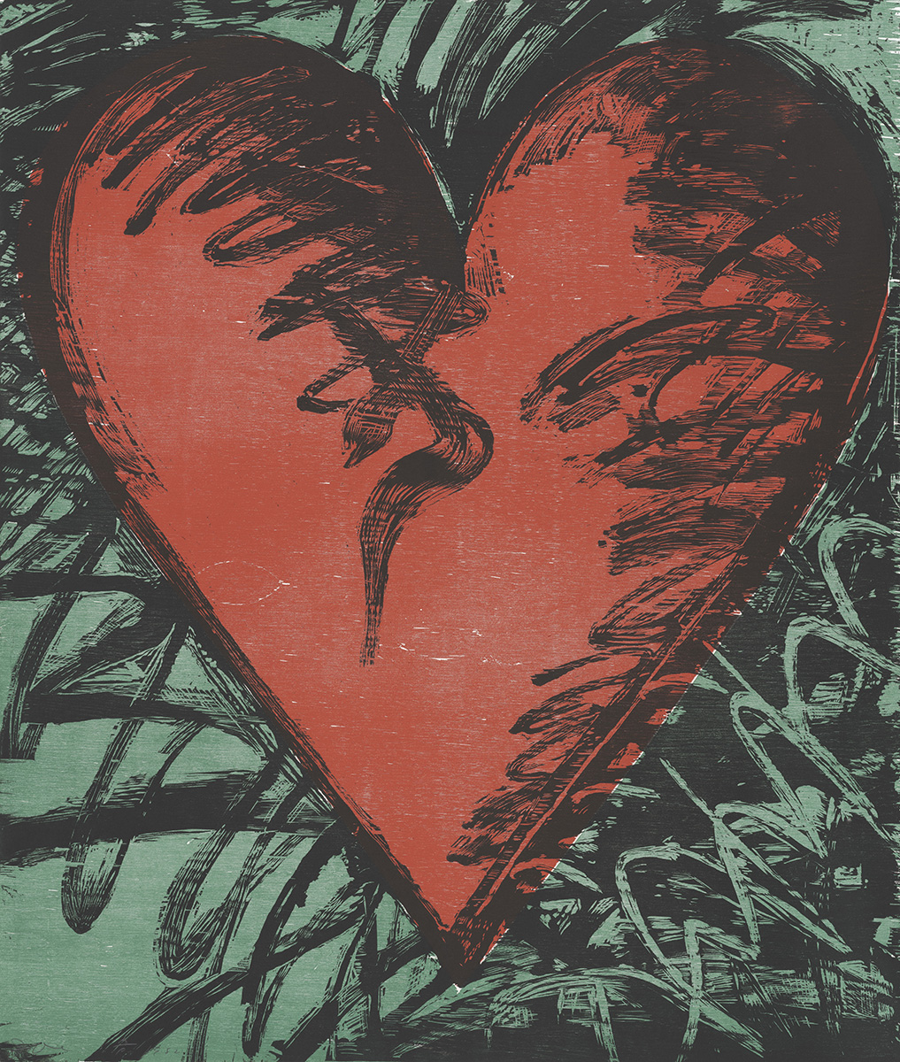 Jim Dine (American, born 1935), <em>Rancho Woodcut Heart</em>, 1982, Woodcut, 47 3/4 x 40 ½ inches. Gift of the Artist, 2019.016.109