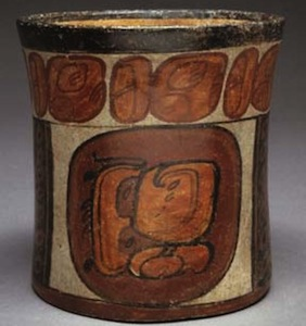 Chocolate Drinking Vessel, Late Classic Maya Culture, slipped and painted earthenware